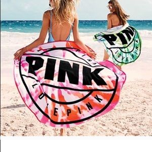 NWT VS Pink Round Beach Towel